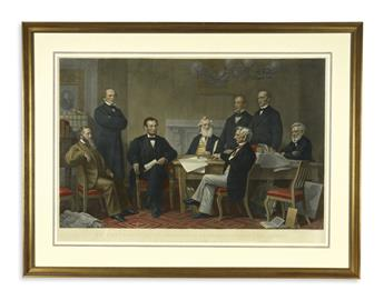 (PRINTS--EMANCIPATION.) Ritchie, Alexander H., engraver. The First Reading of the Emancipation Proclamation