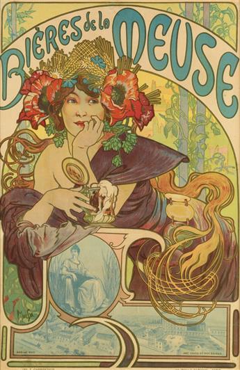 ALPHONSE MUCHA (1860-1939). BIÈRES DE LA MEUSE. 1897. 23x15 inches, 58x38 cm. F. Champenois, Paris.