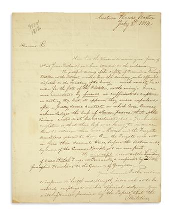 (WAR OF 1812.) Pair of civilian letters with interesting war content.