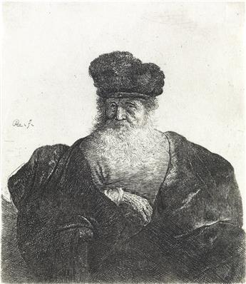 REMBRANDT VAN RIJN Old Man with Beard, Fur Cap and Velvet Cloak.