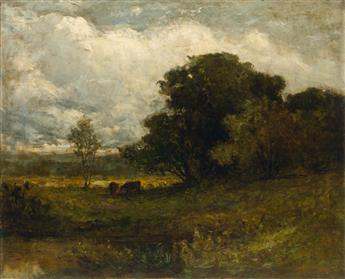EDWARD M. BANNISTER (1828 - 1901) Untitled (Rhode Island Landscape with Cows).