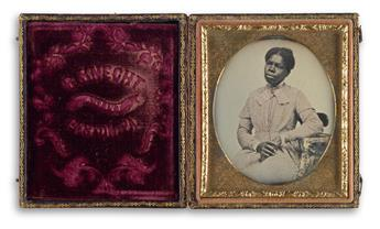 R. KNECHT (active 1850s) Sixth-plate dagurreotype portrait of a pensive young African American woman in a tinted pink dress.