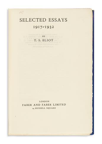 ELIOT, T.S. Selected Essays. 1917-1932.