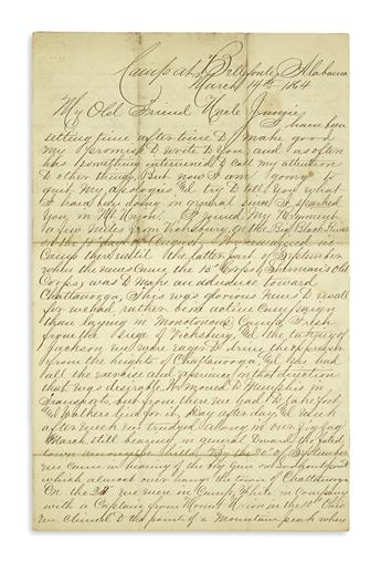 (CIVIL WAR--INDIANA.) Fast, Orlando J. An infantry captains letter describing the battles of Lookout Mountain and Missionary Ridge.