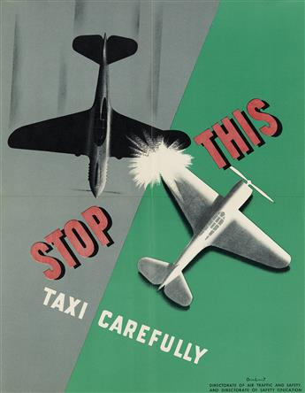 DESIGNER UNKNOWN. [AIR TRAFFIC AND SAFETY.] Group of 8 posters. Circa 1946. Each 22x17 inches, 56x43 cm.