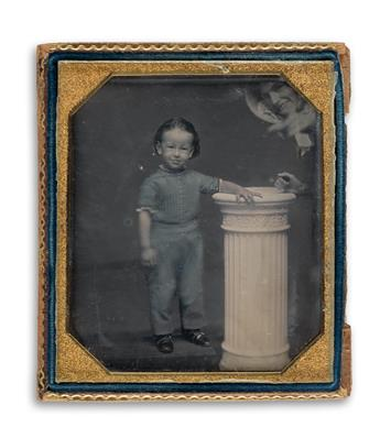 (CHILDREN) Unusual sixth-plate daguerreotype depicting a boy standing by a column while a bonneted woman appears at the top right.