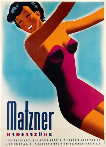 WALTER HOFMANN (1906-1973). MATZNER / BADEANZÜGE. Circa 1950s. 66x48 inches, 169x122 cm. F. Adametz, Vienna.