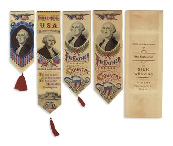 (WASHINGTON, GEORGE.) Group of 4 woven colored silk pictorial Stevengraph ribbons depicting Washington.
