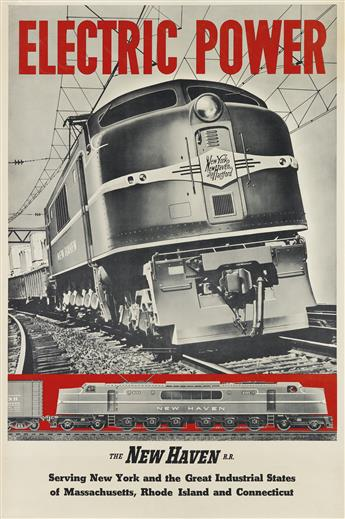 DESIGNER UNKNOWN. [THE NEW HAVEN R.R.] Group of 3 posters. Circa 1940s. Each approximately 41x27 inches, 106x70 cm.