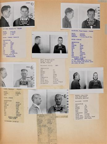 (AMERICAN MUG SHOTS--CRIME LEDGER) An oversized ledger-like album titled Security Dept., with over 500 mug shots from the Oregon St