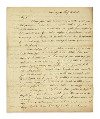 (WAR OF 1812.) Hopkinson, Joseph. A letter discussing the delicate diplomatic efforts to stay out of war with Great Britain.