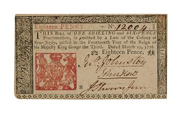 (AMERICAN REVOLUTION.) HART, JOHN. Colonial banknote Signed, as Member of the First Provincial Congress of New Jersey,