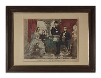 (PRINTS--FAMILY.) Group of 5 framed prints of Lincolns family.