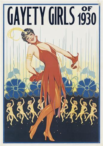 DESIGNER UNKNOWN. [GAYETY GIRLS / LARRY BENNERS FANTASIES.] Group of 3 posters. Circa 1930. Sizes vary.