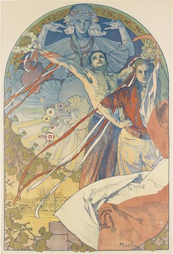ALPHONSE MUCHA (1860-1939). [SLAVNOSTNI HRA NA VLATAVE.] 1925. 48x32 inches, 122x83 cm. Ziegloser, Prague.