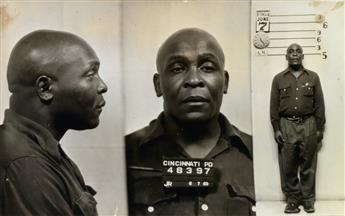 (AMERICAN MUG SHOTS--MONTAGE) Group of 60 unusual mug shots of men, most of whom were arrested in Cincinnati