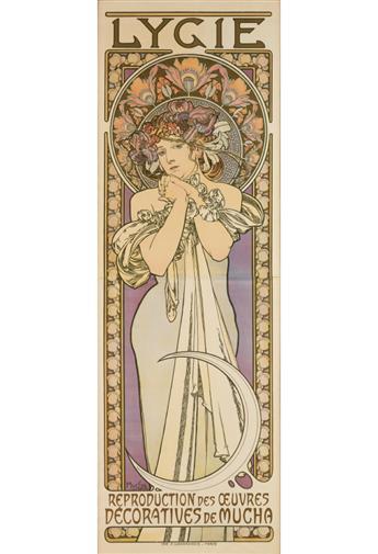 ALPHONSE MUCHA (1860-1939). LYGIE. 1901. 69x23 inches, 176x58 cm. F. Champenois, Paris.