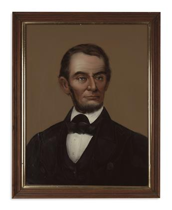 (PAINTINGS.) [Prior, William M.?] Reverse glass portrait of Lincoln.