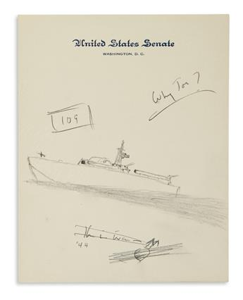 JFKS SKETCH OF HIS PT-109 JOHN F. KENNEDY. Graphite drawing, unsigned, sketch showing a PT-109 in motion wit...