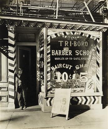 BERENICE ABBOTT (1898-1991) Tri-Boro Barber Shop, 264 Bowery.