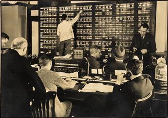 BOURKE-WHITE, MARGARET (1904-1971) Wall Street traders executing orders.
