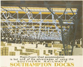 HAROLD SANDYS WILLIAMSON (1892-1978). SOUTHERN RAILWAYS SOUTHAMPTON DOCKS. 1938. 39x49 inches, 99x125 cm. Waterlow & Sons, London.