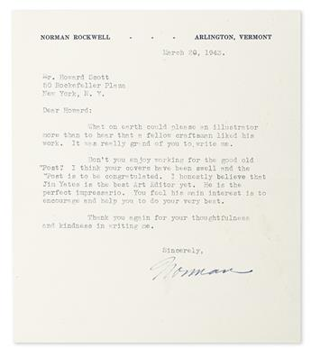 ROCKWELL, NORMAN. Two Typed Letters Signed, Norman, to fellow artist and founder of lighting company Verilux Howard Scott.