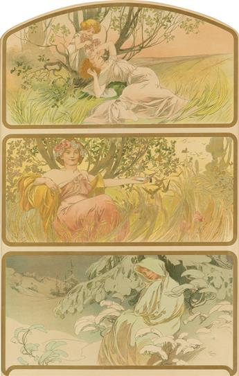 ALPHONSE MUCHA (1860-1939). [THREE SEASONS.] Circa 1898. 24x16 inches, 62x42 cm. [F. Champenois, Paris.]