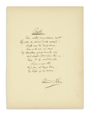 (CUSTER, GEORGE ARMSTRONG.) Stedman, Edmund C. The closing lines of his poem honoring Custer, in his hand.