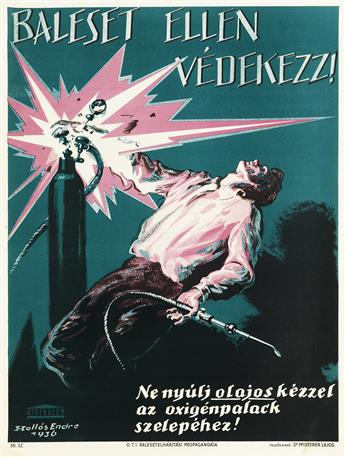 VARIOUS ARTISTS. [HUNGARIAN WORK SAFETY.] Group of 26 posters. Each 24x18 inches, 63x47 cm. Athaneum, Budapest.
