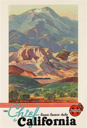 HANSON PUTHUFF (1875-1972). THE CHIEF TO CALIFORNIA / CAJON PASS. Circa 1936. 41x28 inches, 108x71 cm.