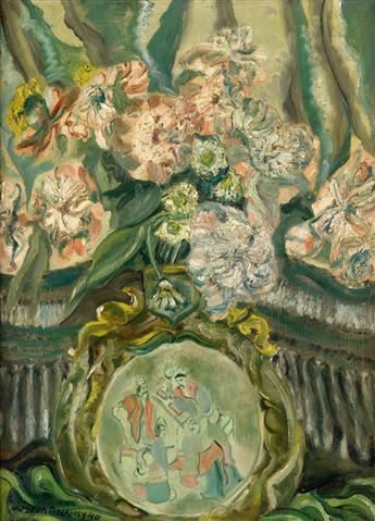 JOSEPH DELANEY (1904 - 1991) Untitled (Still Life with Flowers and Chinese Plate).