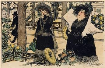 (CARTOON. FRENCH.) ALBERT PAUL GUILLAUME. Entre Veuves (Between Widows).