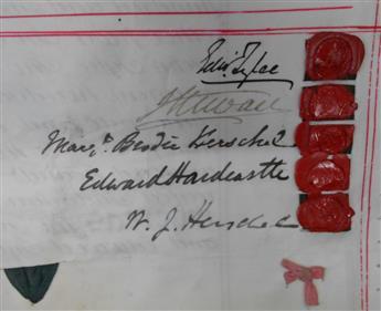 HERSCHEL, WILLIAM JAMES. Vellum Document Signed, W.J. Herschel, transferring the mortgage of the Hurst Estate in the Parish of Potter