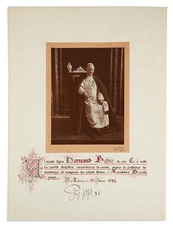 PIUS XI; POPE. Document Signed, Pius pp. XI, granting an Apostolic Benediction