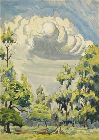 CHARLES BURCHFIELD Clouds and Trees under Blue Skies.