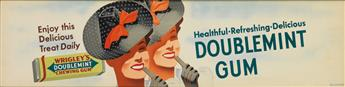 OTIS SHEPARD (1894-1969). HEALTHFUL • REFRESHING • DELICIOUS / DOUBLEMINT GUM. Trolley Card. Circa 1939. 10x41 inches, 26x105 cm.