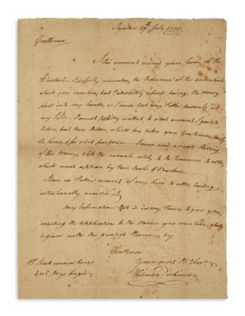 (AMERICAN REVOLUTION--1778.) Dickinson, Philemon. A New Jersey founding father renounces public money for his service.