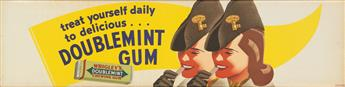 OTIS SHEPARD (1894-1969). TREAT YOURSELF DAILY TO DELICIOUS . . . / DOUBLEMINT GUM. Trolley Card. Circa 1939. 10x41 inches, 26x105 cm.