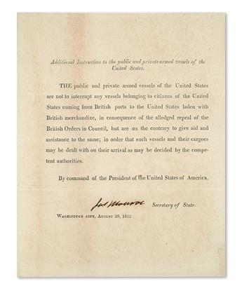 MONROE, JAMES. Printed Document Signed, Jas Monroe, as Secretary of State,