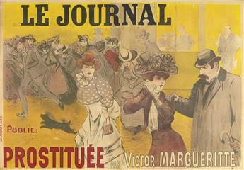 LOUIS ABEL-TRUCHET (1857-1918). LE JOURNAL / PROSTITUÉE PAR VICTOR MARGUERITTE. 1907. 63x91 inches, 160x233 cm. Pichot, Paris.