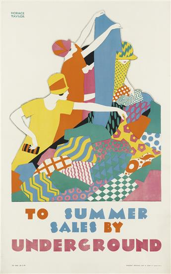 HORACE TAYLOR (1881-1934). TO SUMMER SALES BY UNDERGROUND. 1926. 40x24 inches, 101x61 cm. Vincent Brooks Day & Son Ltd., London.