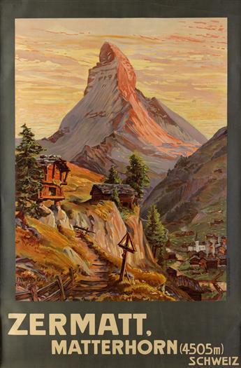 FRANCOIS GOS (1880-1942). ZERMATT / MATTERHORN. 1904. 41x27 inches, 95x69 cm. Hubacher & Co., Bern.