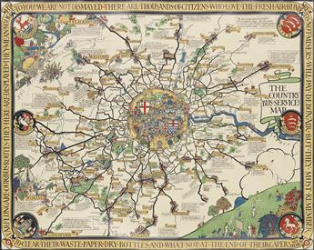LESLIE MACDONALD GILL (1884-1947). THE COUNTRY BUS - SERVICES MAP. 1928. 40x50 inches, 102x127 cm.
