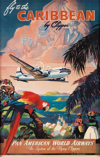MARK VON ARENBURG (DATES UNKNOWN). FLY TO THE CARIBBEAN BY CLIPPER / PAN AMERICAN WORLD AIRWAYS. Circa 1950. 41x26 inches, 104x66 cm.