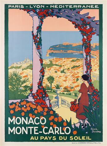 ROGER BRODERS (1883-1953). MONACO MONTE - CARLO. Circa 1920. 42x31 inches, 108x78 cm. J. Langlois, Paris.