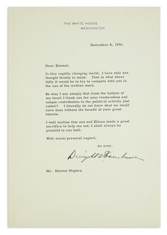 TO HIS SPEECHWRITER DWIGHT D. EISENHOWER. Group of 12 typed letters, including one Signed DwightDEisenhower...