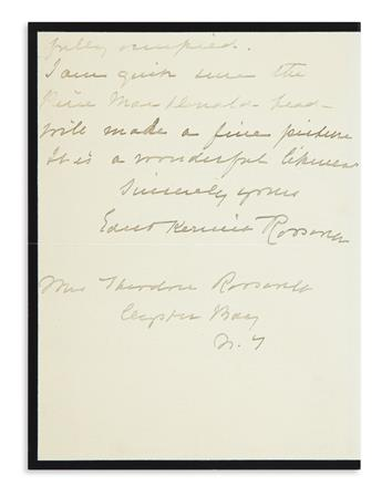 (ROOSEVELT, THEODORE.) Roosevelt, Edith Kermit. Pair of letters regarding the family's preferred portrait of the late president.