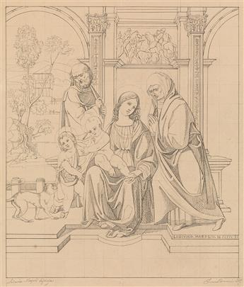 FRANCESCO PIERACCINI (Florence, mid 19th century) The Holy Family with Saint Anne, Saint John and a Monkey.
