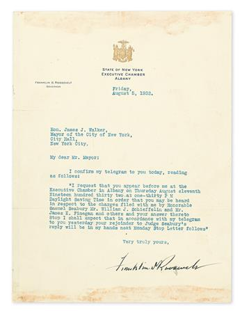 TO NYC MAYOR ACCUSED OF CORRUPTION: I REQUEST THAT YOU APPEAR BEFORE ME FRANKLIN D. ROOSEVELT. Typed Letter...